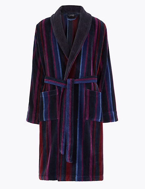 Velvet Touch Supersoft Striped Dressing Gown