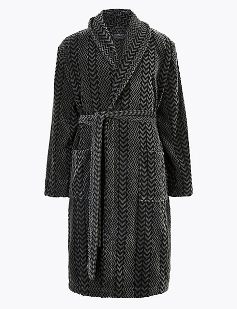 Velvet Touch Zigzag Dressing Gown