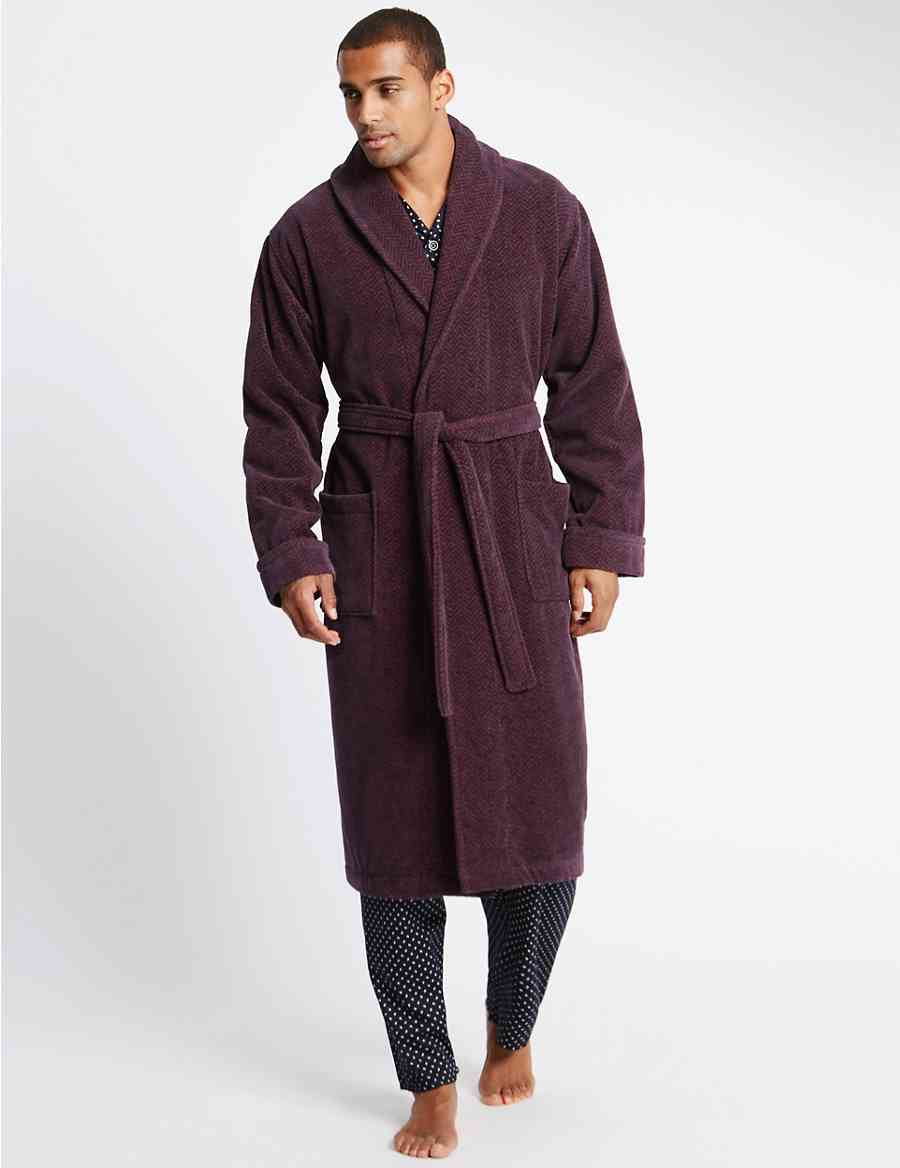 Pure Cotton Velour Luxury Dressing Gown  b92fc3a52