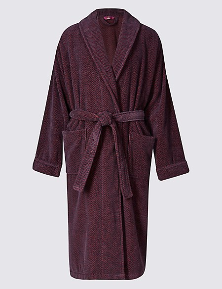 Pure Cotton Velour Luxury Dressing Gown