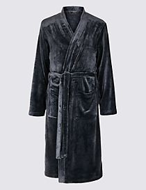 Fleece Dressing Gown with Belt