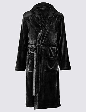 Hooded Fleece Dressing Gown with Belt