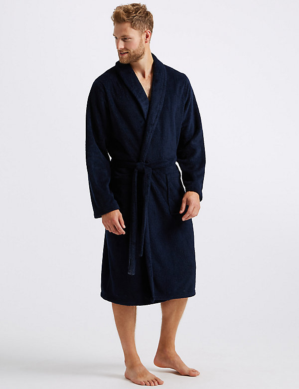 Plain Supersoft Warm Fleece Wrap Over Dressing Gown Nightwear Bathrobe
