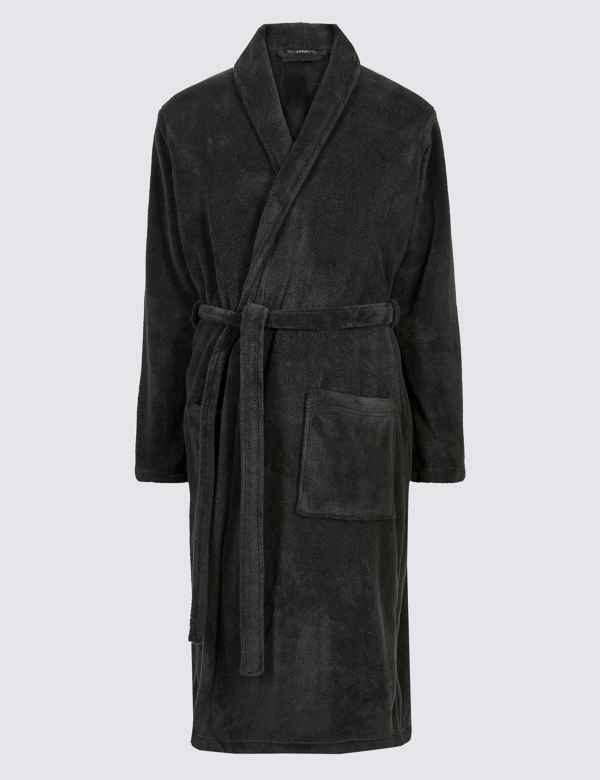 Nachtwäsche Herrenmode Mens Luxury Full Length Velour Fleece Robe Dressing Gown Boys Gents Size S-xl
