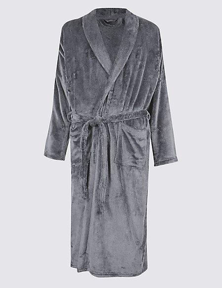 Long Line Fleece Dressing Gown with Belt   M&S Collection   M&S