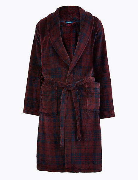 Checked Supersoft Fleece Gown