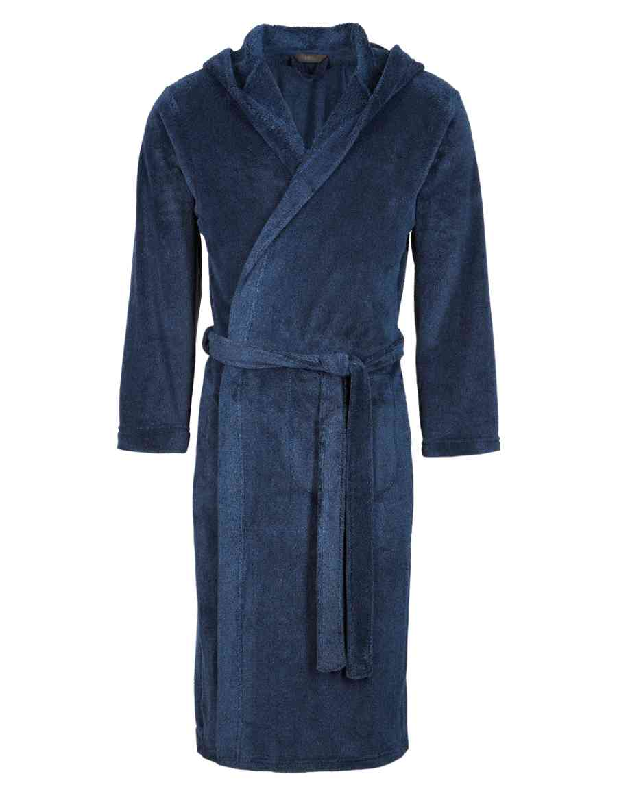 Premium Supersoft Hooded Fleece Dressing Gown with StayNEW™  f070e5437