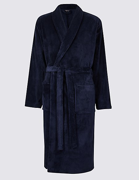 Fleece Striped Dressing Gown with Belt