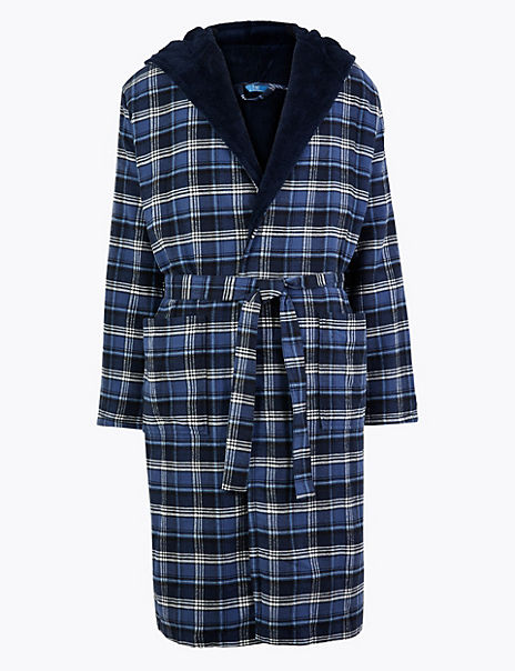 Supersoft Checked Hooded Dressing Gown