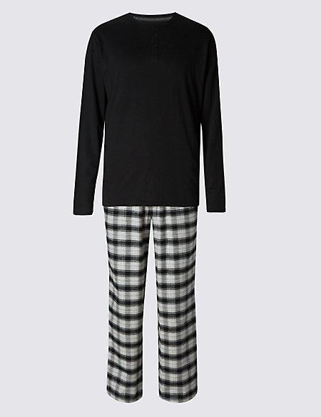 Brushed Cotton Stay Soft Checked Pyjama Set