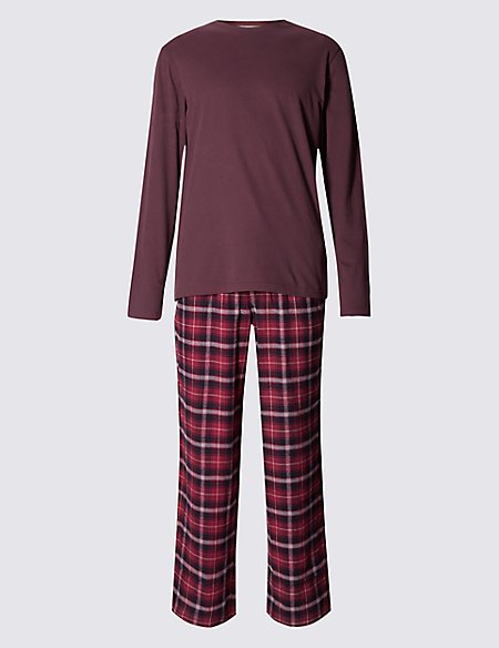 Brushed Cotton Stay Soft Checked Pyjama Set