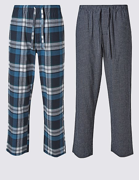 2 Pack Brushed Cotton Checked Pyjama Bottoms