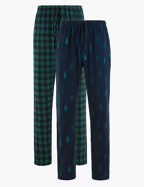 2 Pack Festive Print Pyjama Bottoms