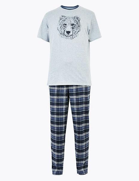 Supersoft Brushed Cotton Checked Pyjama Set