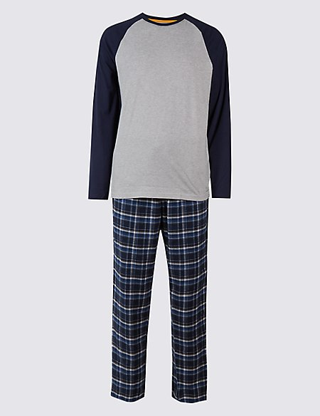 2in Longer Pure Cotton Checked Pyjama Set