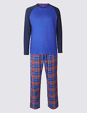 Big & Tall Brushed Cotton Checked Christmas Pyjama Set