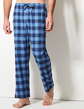 2 Pack Brushed Cotton Check & Stripe Pyjama Bottoms