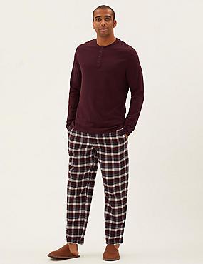 Pyjamaset van geborsteld katoen met ruitmotief