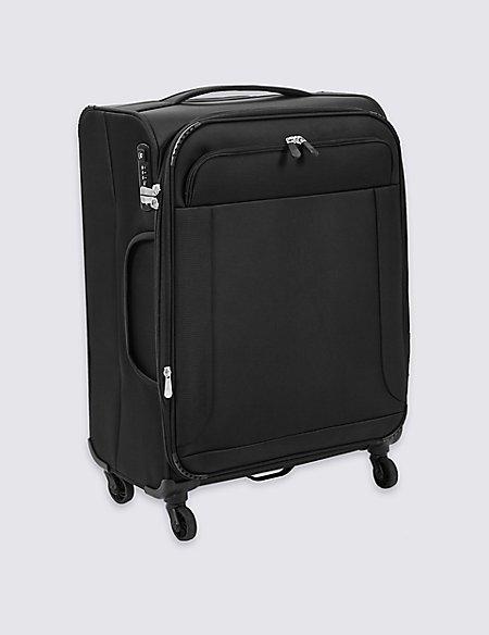Medium 4 Wheel Ultralight Soft Suitcase with Security Zip