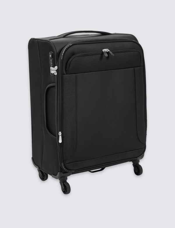 e2178d16df44 Medium 4 Wheel Ultralight Soft Suitcase with Security Zip
