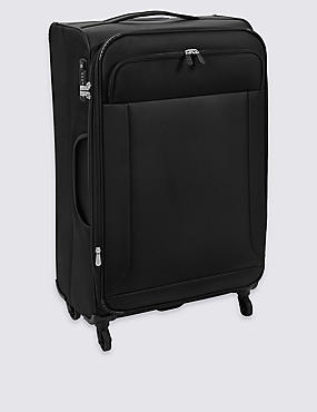 Large 4 Wheel Ultralight Soft Suitcase with Security Zip