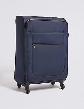 Medium 4 Wheel Soft Suitcase with Security Zip