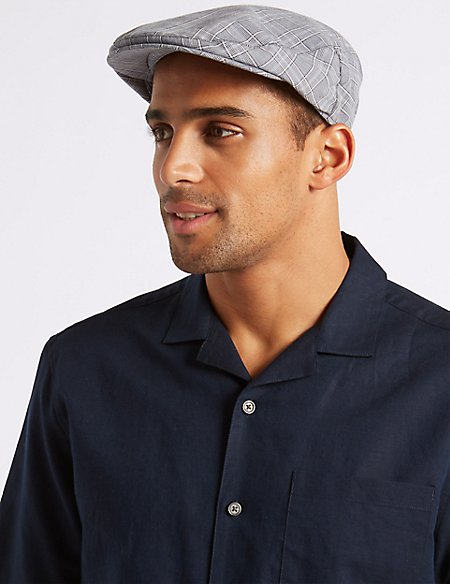 Cotton Rich Windowpane Flat Cap