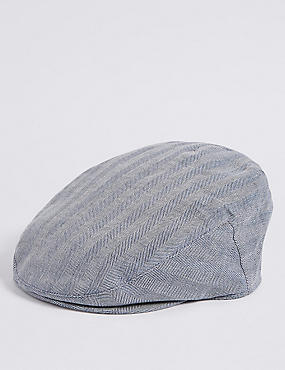 Linen Rich Herringbone Flat Cap