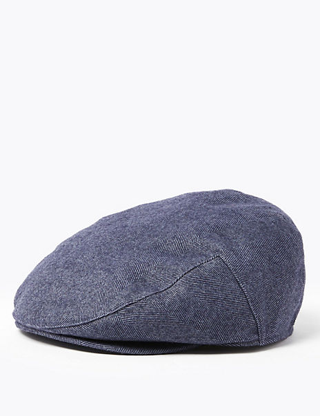 Wool Herringbone Flat Cap with Thermowarmth™