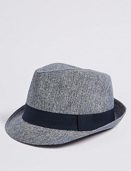 Linen Blend Trilby Hat