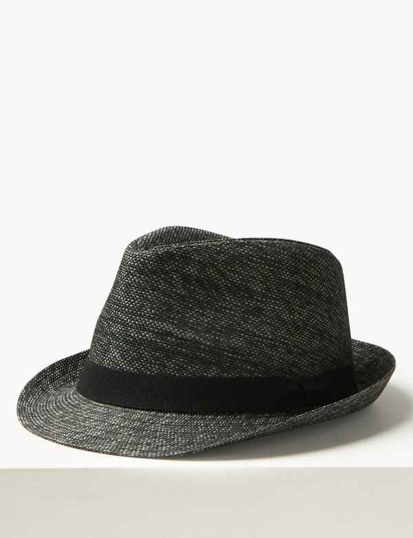 b20918d2ab987 Textured Trilby Hat. M S Collection