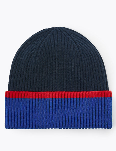 Striped Colour Block Beanie Hat