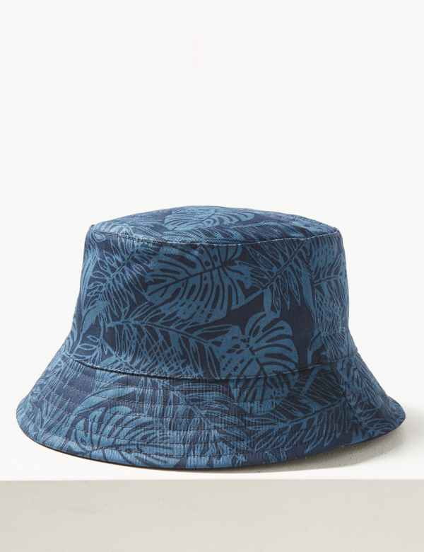 0a4210d6079 Pure Cotton Palm Print Reversible Bucket Hat