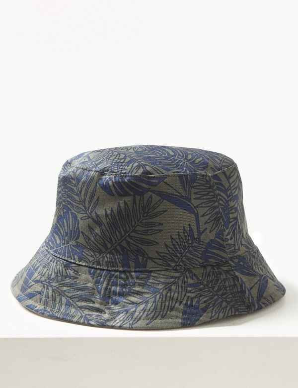 770fc0355a9 Pure Cotton Palm Print Reversible Bucket Hat