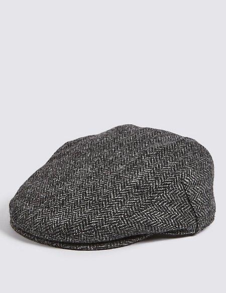 Pure Wool Herringbone Thinsulate™ Flat Cap with Stormwear™