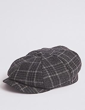 Gorra estilo baker boy 100% lana de cuadros ... 4c2f6bcaa37