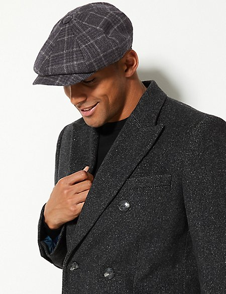 Pure Wool Checked Baker Boy Hat