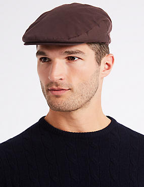 Pure Cotton Wax Flat Cap with Stormwear™