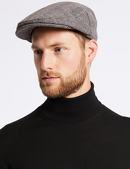 Wool Rich Flat Cap with Cashmere