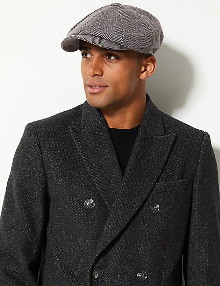 Wool Blend Baker Boy Hat with Cashmere