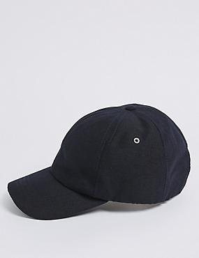 Linen Blend Pique Baseball Cap