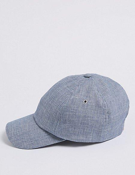 Linen Blend Textured Baseball Cap