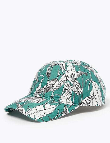 Pure Cotton Leaf Print Baseball Cap