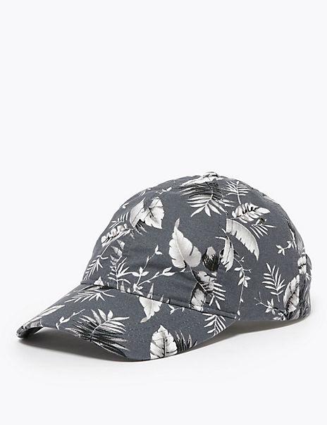 Pure Cotton Tropical Print Baseball Cap
