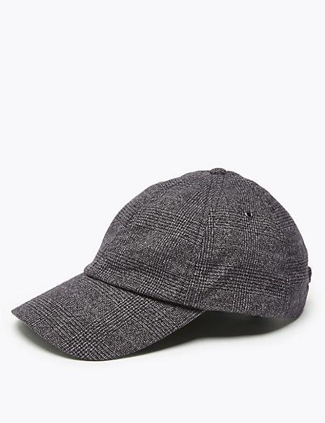 Cotton Rich Checked Baseball Cap