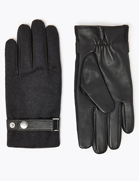 Leather & Fabric Gloves with Thermowarmth™