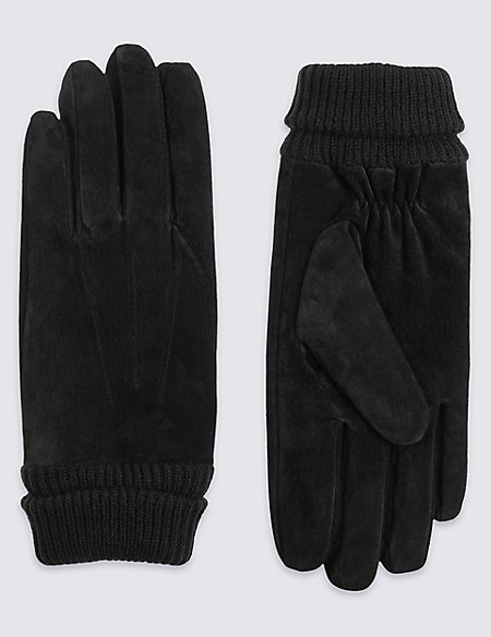 Leather Gloves with Suede Cuff