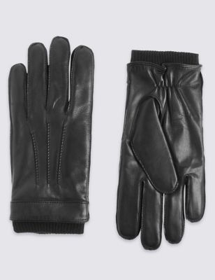 BLACK M/&S LUXURY Italian LEATHER Gents GLOVES with THINSULATE Platinum ~ Size L