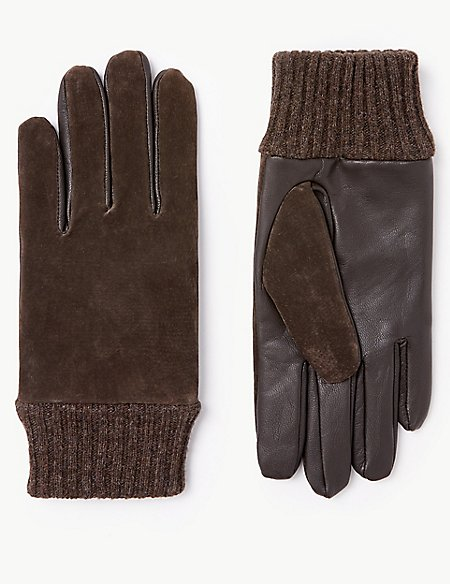 Leather & Suede Gloves with Cuff