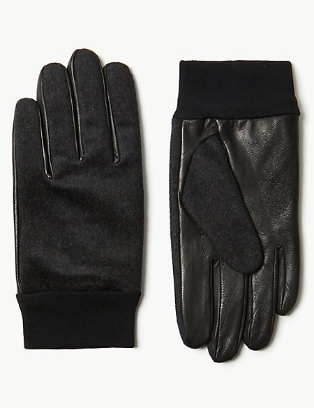 Leather & Wool Rich Gloves